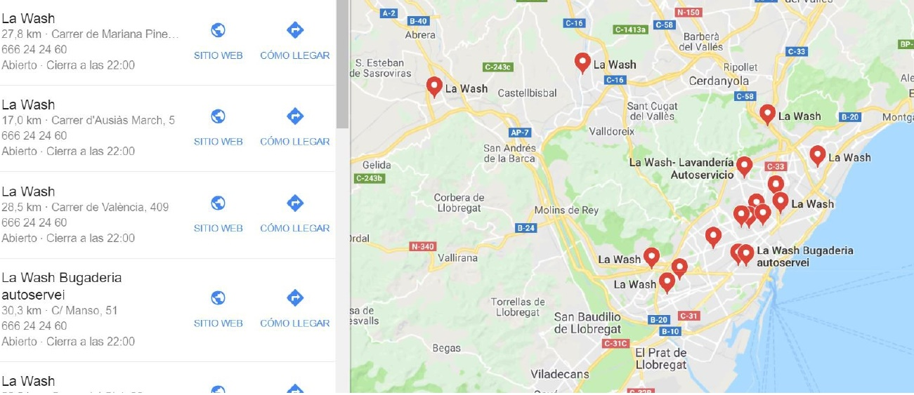 Location of La Wash self-service laundries with Google Maps